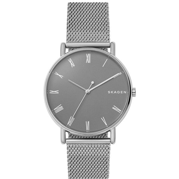Skagen Signatur Steel Mesh Bracelet Watch ($180) ❤ liked on Polyvore featuring men's fashion, men's jewelry, men's watches, mens leather strap watches, mens mesh watches, blue dial mens watches, mens stainless steel watches and skagen mens watches