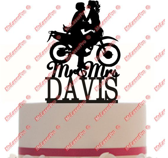 Custom Wedding Cake Topper Mr and Mrs with your last name, an open tire Motorcycle silhouette, choice of color and a FREE base for display