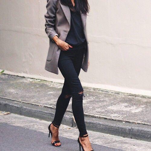 Grey lazer black blouse black pants black heels