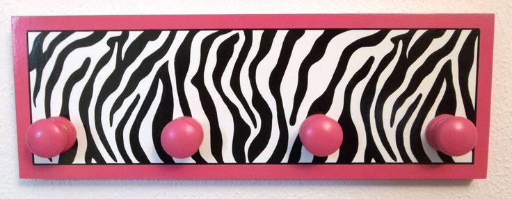 "16"" Black White Zebra Print Hot Pink Coat Backpack Girls Jewlery Rack Hanger Wall Decor Bedroom Kids. $26.00, via Etsy."