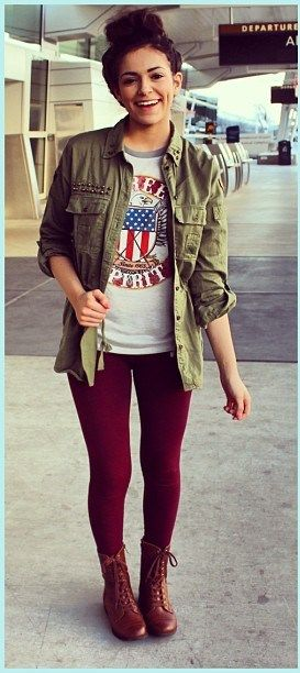 I love how the darker colors and the military jacket make her look so edgy, yet it works.