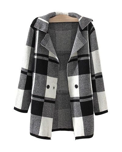 Grey Check Print Longerline Knit Autumn Jacket JA0230001