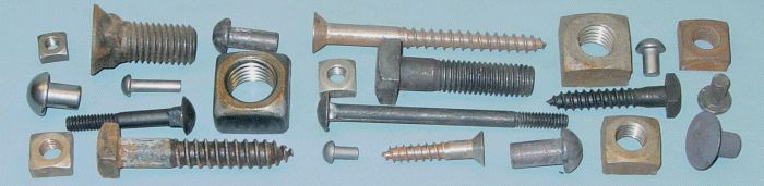 BlacksmithBolt.com is the supplier of choice for specialty fasteners in the Blacksmithing and Metalworking communities, Restoration work, and the Building Trades. The cornerstones of our inventory: Square Head Lag Bolts, Square Head Machine Bolts, with square nuts; Slotted Head Wood Screws, and Solid Iron Rivets. Also a few Iron Tire Bolts, Plow Bolts, Step Bolts and Carriage Bolts in stock. For these and the machine bolts, in addition to the square nuts...