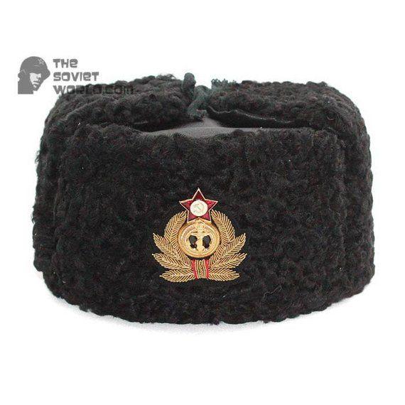 556d5992801 Soviet Russian Naval Admiral winter original black Astrakhan fur and  leather Ushanka hat with handma