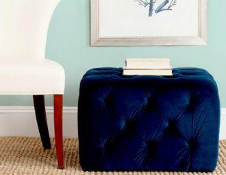 love the blue ottoman!