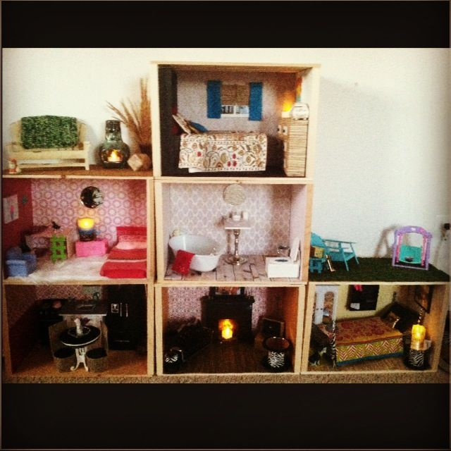 DIY Barbie house coming along; created using wooden crates from Home Depot & Michael's.