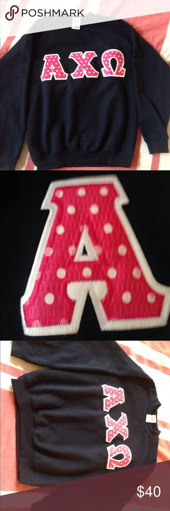 AXO Alpha Chi Omega Lettered Navy Sweatshirt Adorable Navy with Pink/White polka dot lettered sweatshirt. Size Youth Large fits like a women's Small. Offers welcome and I have other AXO items in closet if you want to take advantage of my bundle discount! Gildan Tops Sweatshirts & Hoodies