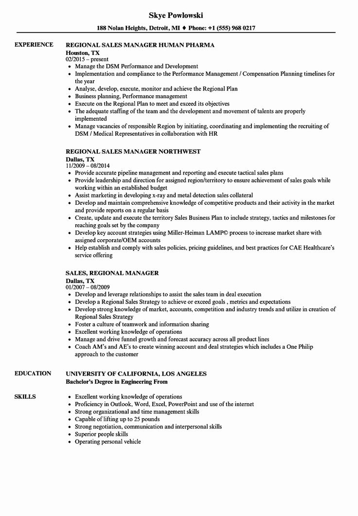 Best Of Sales Regional Manager Resume Samples in 2020