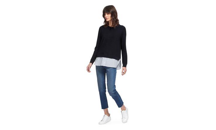 Linen Stripe Hem Sweater, Navy | WHISTLES