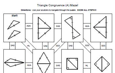 free congruent triangle worksheet sss sas aas triangle congruence 4 mazes sss sas asa aas hl. Black Bedroom Furniture Sets. Home Design Ideas