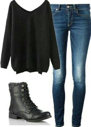 Baggy black sweater with jeans and combat boots
