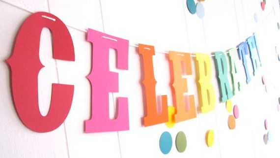Celebrate Rainbow Party Primary Colors Pride by BigKidBanner, $16.00