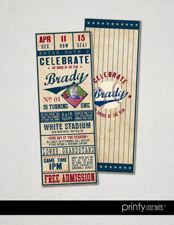 Digital File  Vintage Baseball Ticket by printylittlethings