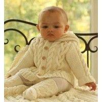 Вязаная кофта с капюшоном Косы Crochet Bee Handmade нежный вариант на осень для малыша