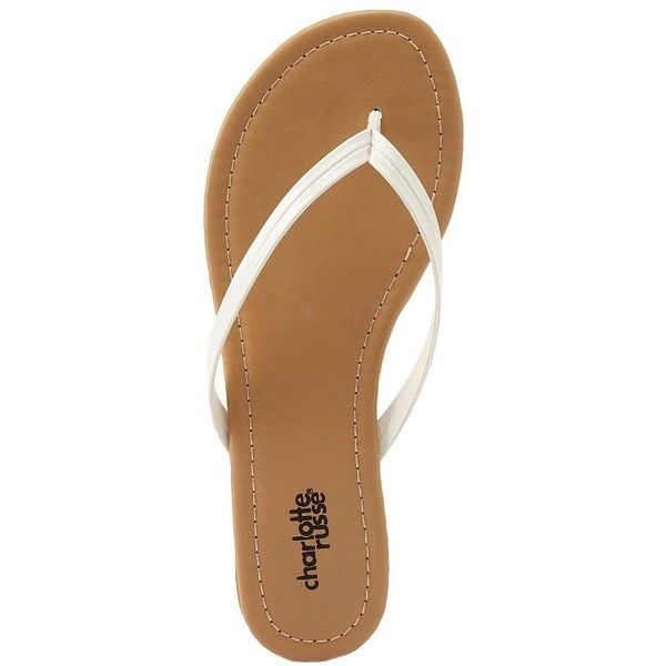 Charlotte Russe White Seamed Patent Flip-Flop Sandals by Charlotte... (£5.16) ❤ liked on Polyvore