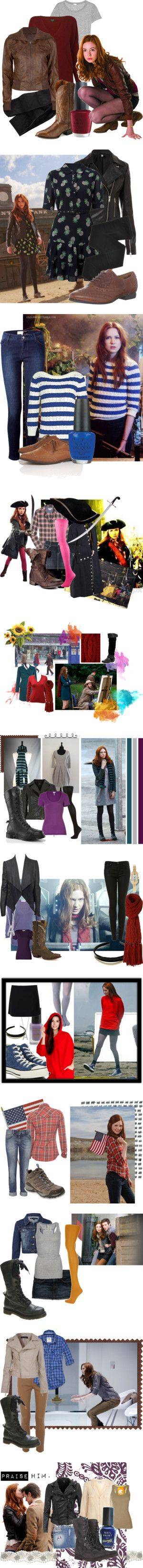 Amy Pond outfits. by ponderland on Polyvore featuring H&M, Splendid, Jaeger, Full Tilt, Nocona, OPI, amy pond, doctor who, karen gillan and Whistles