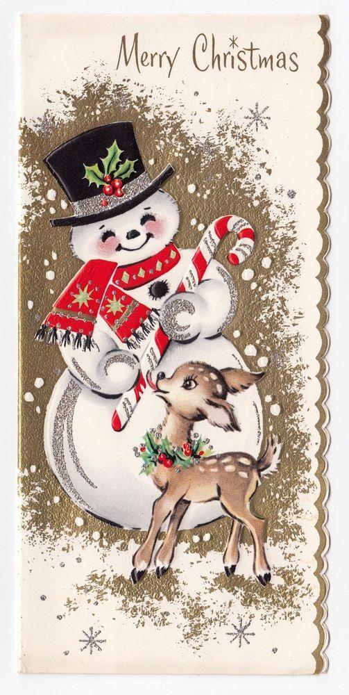 1637 best christmas cards vintage images on pinterest vintage vintage greeting card christmas cute snowman deer reindeer candy cane m4hsunfo