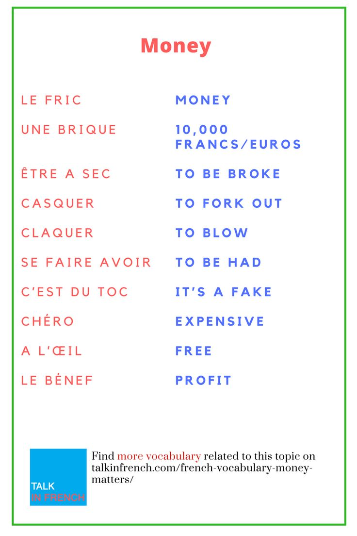 Upgrade your French vocabulary related to money with these amazing slang words and phrases. + download the list in PDF format for free! Get it here:  https://www.talkinfrench.com/french-vocabulary-money-matters/
