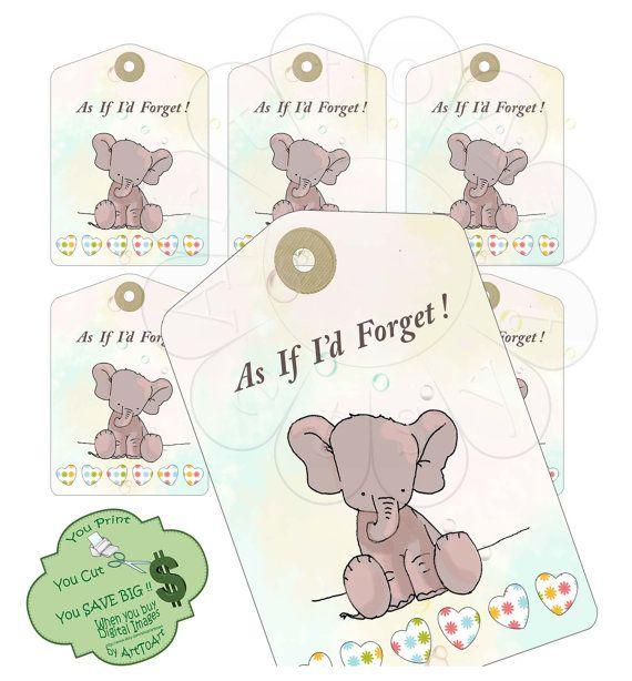 BIRTHDAY Gift tags and labels Remember do not forget cute elephant PrintableDigital 507  scrapbooking discount coupon codes