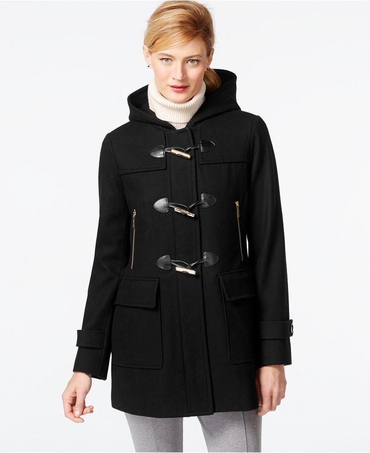 MICHAEL Michael Kors Faux-Leather-Trim Hooded Duffle Coat - Coats ...