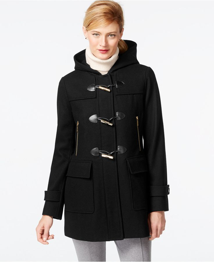 MICHAEL Michael Kors Faux-Leather-Trim Hooded Duffle Coat - Coats ...