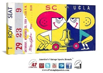 #UCLA #Bruins #football #tickets, 1954 National Champions. Football ticket stub art on canvas.  #USC #Trojans #collegefootball