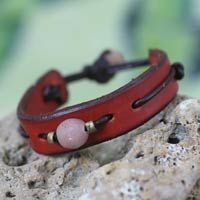 Men's leather wristband bracelet, 'Red Standout' by NOVICA