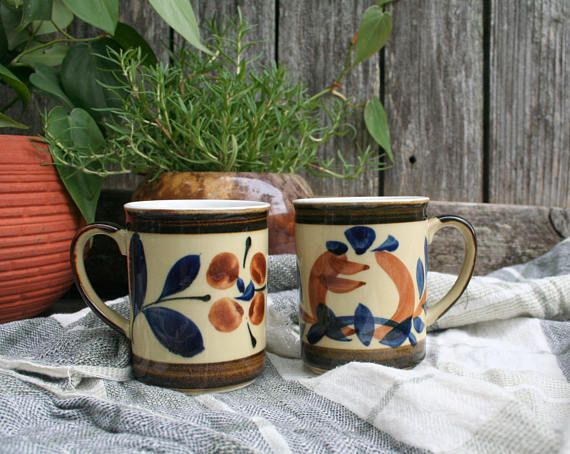 Set of Two Ceramic Navy and Brown Coffee or Tea Mugs / Cups