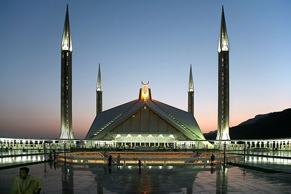 Faisal Mosque, Islamabad. Visitors are welcome, though non-Muslims are requested to time visits outside of prayer times and Fridays..