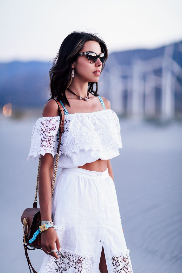 VivaLuxury - Fashion Blog by Annabelle Fleur: FESTIVAL STYLE RECAP - PANDORA Jewelry from festival collection inspired by Coachella | MIGUELINA Kimora crochet-panel linen maxi skirt & blouse | DODO BAR OR Martina shirt & Michaella mini skirt | CHLOE Jodie small leather & suede shoulder bag & Jayme cat-eye gold tone sunglasses April 20, 2016