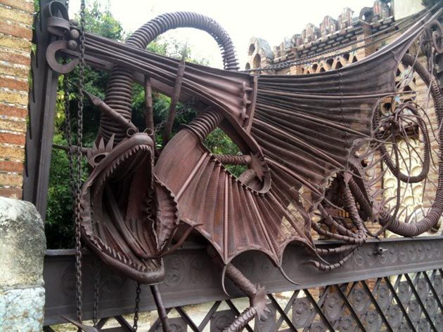 This dragon gargoyle on a gate was designed by Antoni Gaudí – in Barcelona.