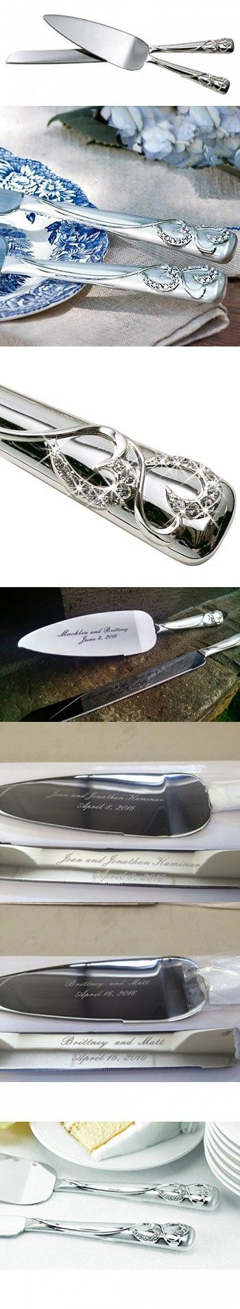 Personalized Engraved Customized Hortense B. Hewitt Wedding Accessories Sparkling Love Silver-Plated Cake Knife and Server Set