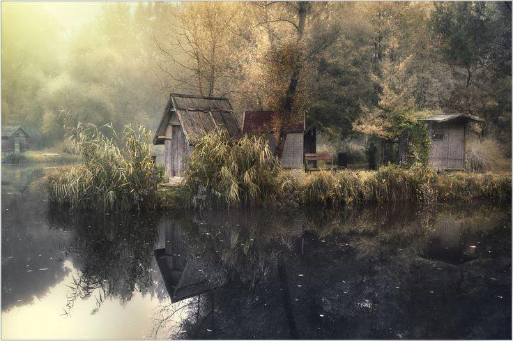 A melancholic autumn dawn near our house at the local fishing lake.