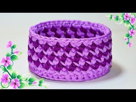 МК Корзина крючком из трикотажной пряжи. Basket crochet DIY - YouTube