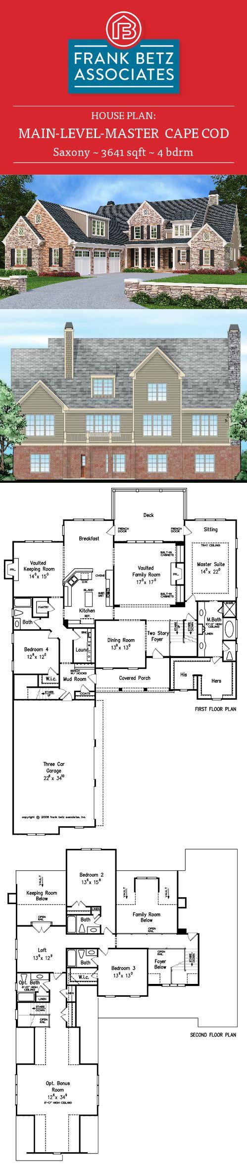 221 best main level master house plans images on pinterest house saxony 3641 sqft 4 bdrm cape cod house plan design by frank betz