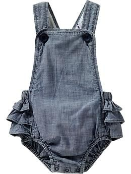 Chambray Ruffled-Romper Overalls $15