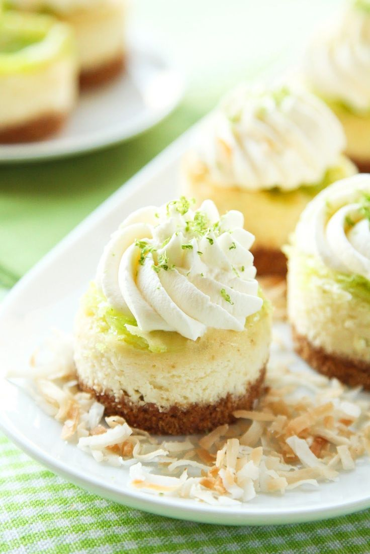 Mini Coconut Lime Cheesecakes - Made these for Thai Night and they were delicious! Added toasted pecans to the crust and more than doubled the butter in the crust so it would hold together. Sooo good! Oh, and skipped the food coloring.