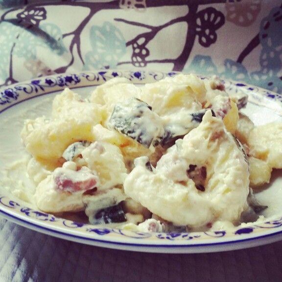 Gnocchi di patate con zucchine e pancetta