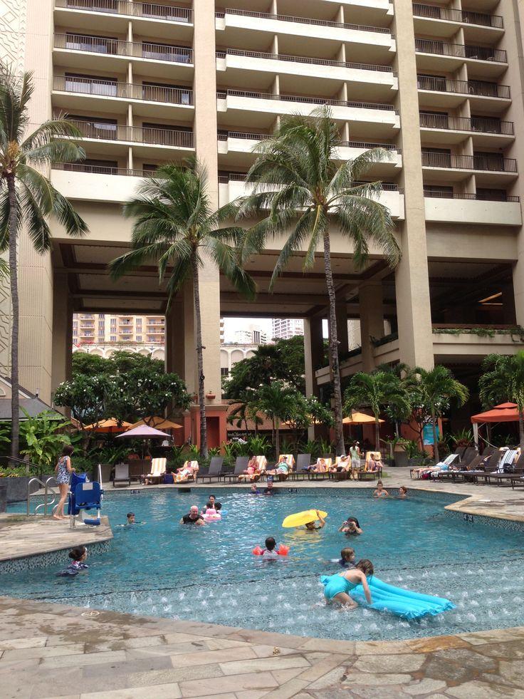 Tapa Tower Pool at the Hilton Hawaiian Village, Honolulu, Hawaii, USA