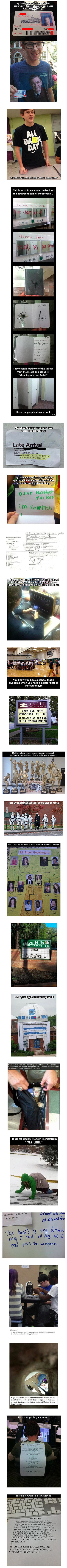 Here are some funny and geeky things that have been spotted at schools.