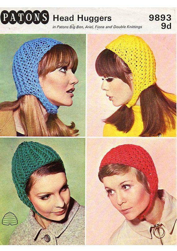 Pdf Vintage Ladies Hat Helmet Knitting Pattern 1960s Patons
