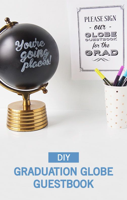 Show the graduate just how far they'll go with this DIY Graduation Globe Guestbook from Inspired Gathering! This homemade chalkboard globe is cool, creative, and an awesome keepsake for them to put on their desk at their new school or job! Place next to the gift table at their graduation party to make sure all their friends and family sign it.
