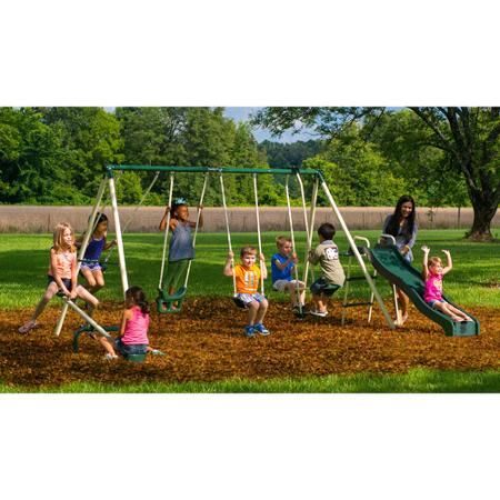 Flexible Flyer Backyard Swingin Fun Metal Swing Set for $149 http://sylsdeals.com/flexible-flyer-backyard-swingin-fun-metal-swing-set-for-149/