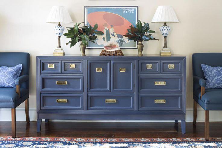 This handsome old dresser was refinished and repurposed into a sideboard