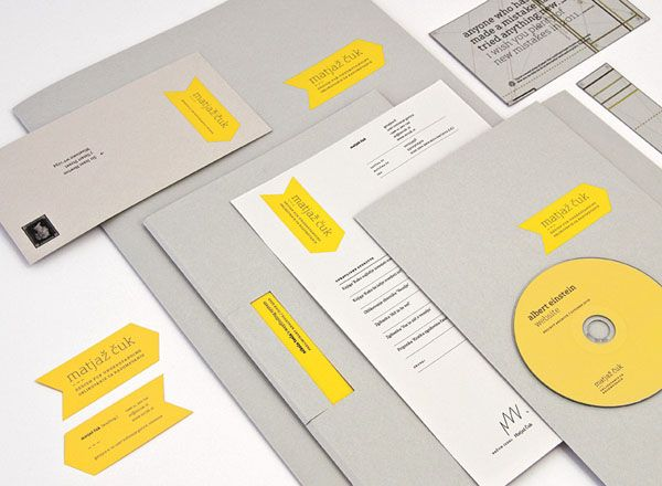 Clever Identity Design. Matjaž Čuk created for his own small design studio a low budget but nice looking visual identity. To save costs, resources and wast