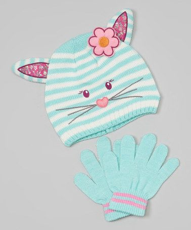 Take a look at this Teal Cat Beanie & Gloves by Polar Wear on #zulily today!
