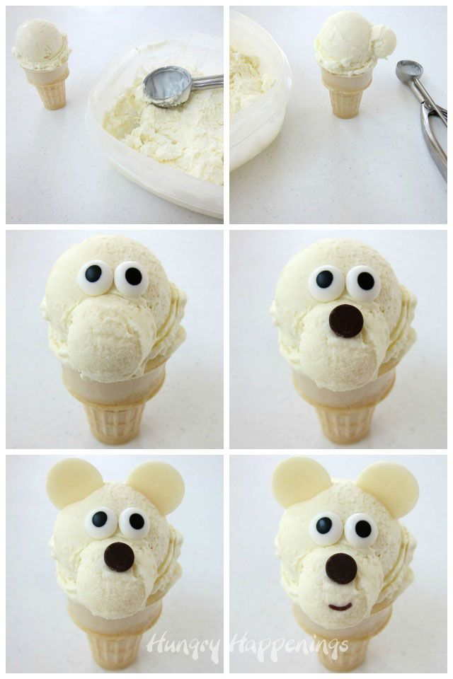 It's super fun and easy to decorate an Ice Cream Cone Polar Bear. See the instructions at HungryHappenings.com.