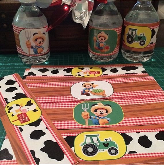 Digital File Mickey Farm, Farmer Mickey Water Bottle Labels, Bottle Wrappers by IconicaDesign