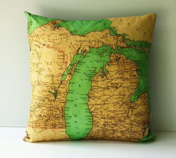 Gorgeous pillow (cushion) covers made of organic cotton, based on vintage maps. This one is Michigan, where I was born and raised. Pricey, but cared for, should last for years. A unique, earth-friendly gift. Available in multiple designs from mybeardedpigeon on etsy.