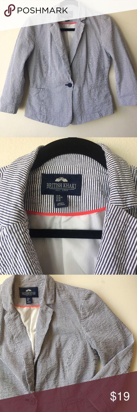 British Khaki blazer British Khaki blue and white fine stripes blazer 3/4 sleeves . Size M british Khaki Tops